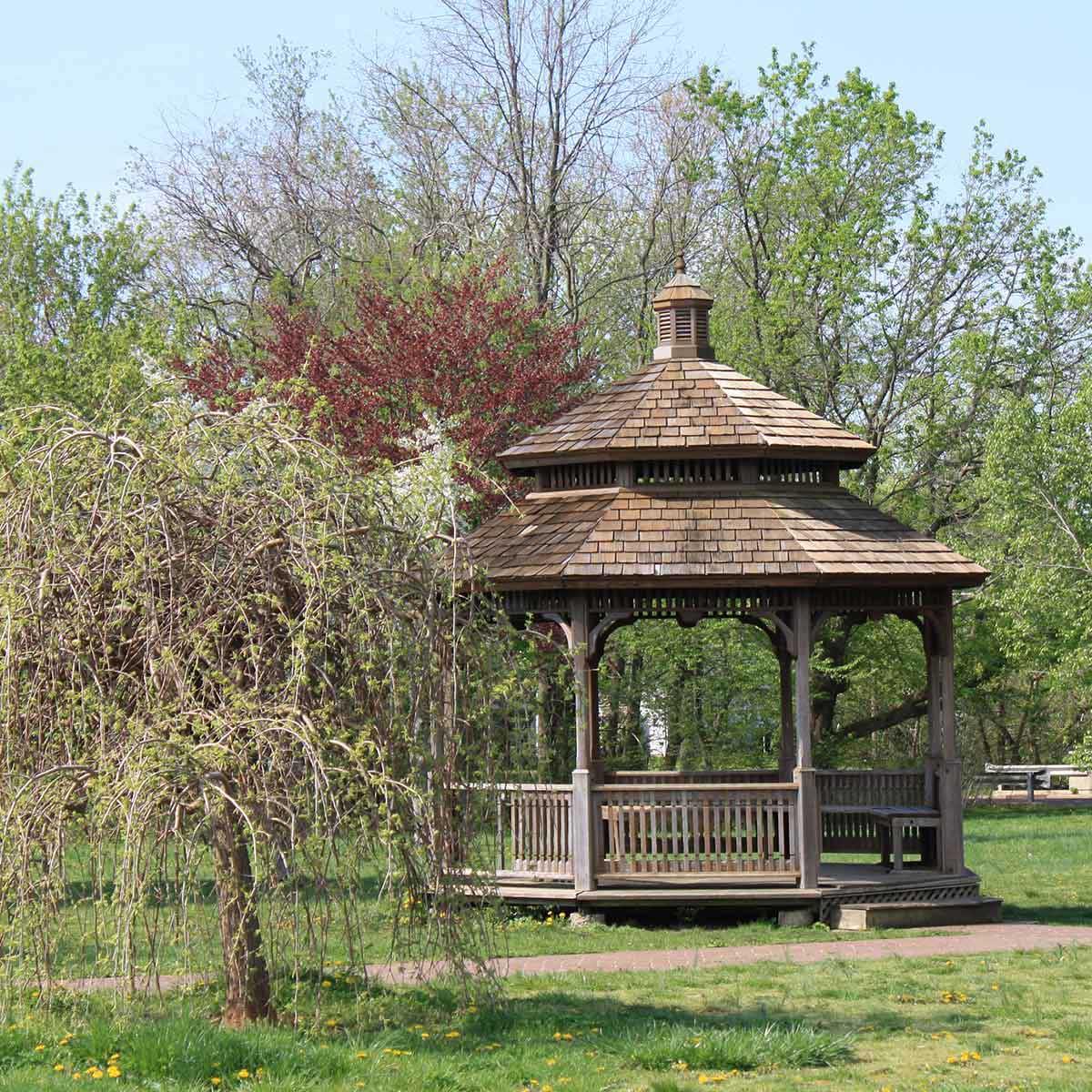 Relax in a gazebo at Laurel Acres Park near Mount Laurel, NJ.