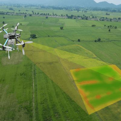 drone scanning farm field